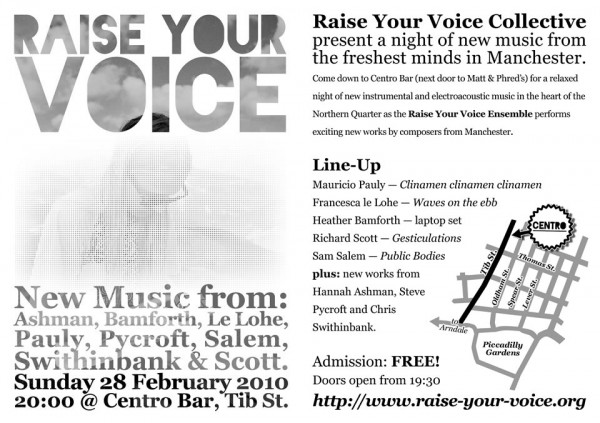 Flyer for Raise Your Voice Ensemble at Centro Bar, 28.02.2010