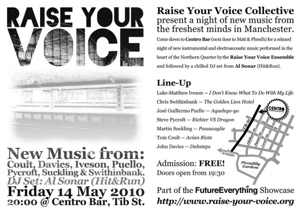 Flyer for Raise Your Voice Ensemble @ Centro Bar, Friday 14 May