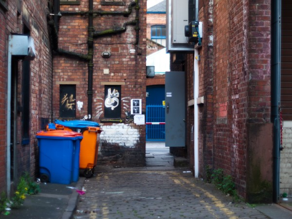 The entrance to Kraak Gallery on a back alley off Stevenson Square.