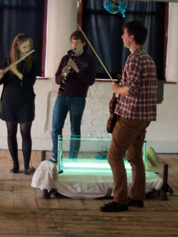 Raise Your Voice Ensemble performing with Sam Salem's & Patrick Sanan's interactive installation 'Pond Life'.